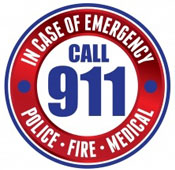 """In case of emergency call 911"" graphic"