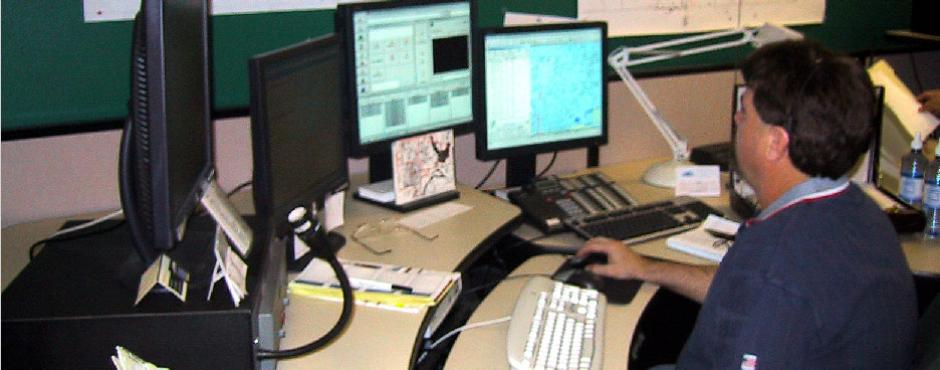 Sheriff's office dispatcher at work.